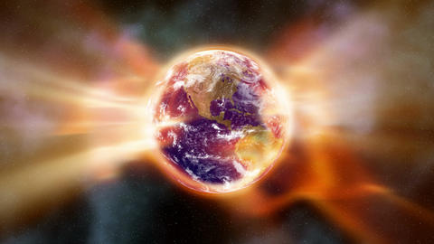 Earth Aura 002: A global warming aura of heat radiation envelopes the Earth in space Animation