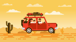 Family travels by car with a dog Archivo