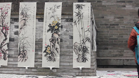 XI'AN-DEC 29: Chinese painting works selled in street, Dec 29, 2012,Xi'an city Footage