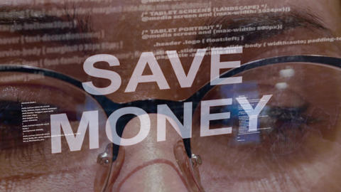 Save money text on female software developer Live Action