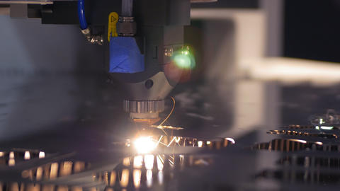 Cut sheet metal at workshop. Modern tool in heavy... Stock Video Footage