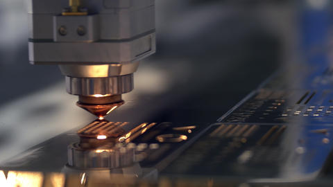 Cutting of metal. Sparks fly from laser. Clip. Laser cutting machine technology Footage