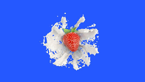 Strawberry Falls into the Milk Splash Animation