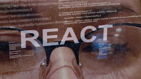 React text on female software developer Live Action