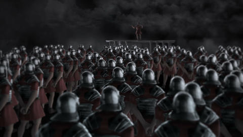 Roman Centurion Gives a Speech in Front of a Legion Before a Battle Footage