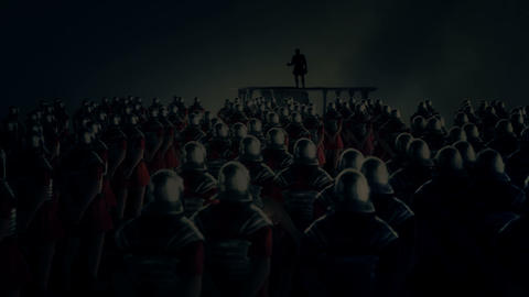 Roman Centurion Gives a Speech in Front of a Legion Under a Thunderstorm Footage