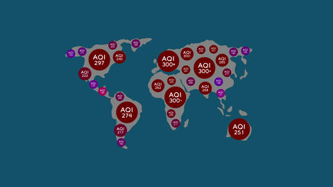 AQI symbol pop up with run number 0 to 300+ on world map, Pollution dust PM 2.5 problem concept Animation