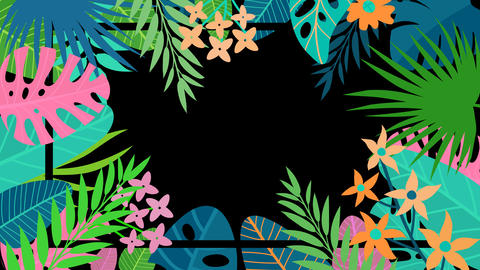 Summer Tropical Flower Frame (Loop) Animation