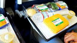 Passenger on Japanese ANA flight to Tokyo, Japan opening vgml vegan meal Footage