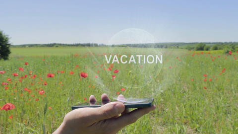 Hologram of Vacation on a smartphone Footage