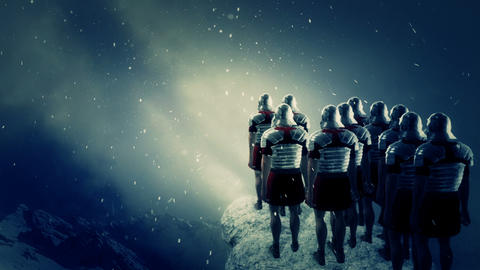 Imperial Roman Soldiers Looking at a Battlefield Under Snow Footage