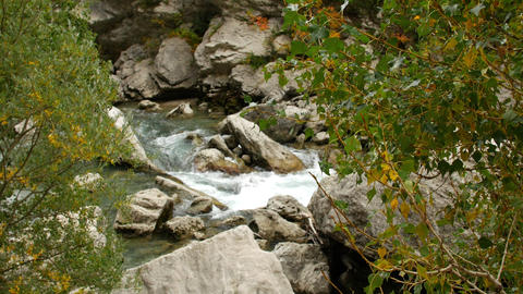 Clean water flow in rocky river in mountain close up. Rapid water stream Live Action