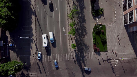 Drone's Eye View - Aerial top down view of traffic jam on city road Live影片