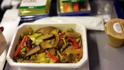 Japanese ANA flight to Tokyo, Japan woman opening vgml vegan meal Footage