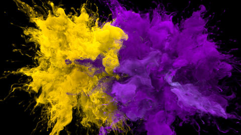 Color Burst - Multiple colorful smoke explosions fluid particles alpha matte Animation