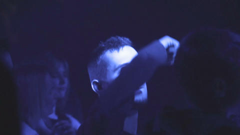 Lot of people clapping at rave party Footage