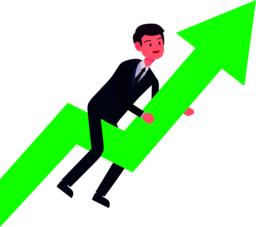Business man grow up with green arrow.Growth and success business concept.Vector illustration Vector