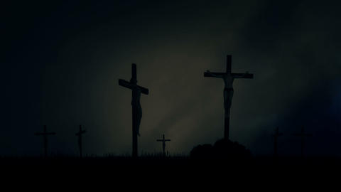 Crucified Men Nailed to a Cross Under a Lightning Storm in a Field Footage