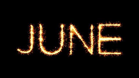 June Text Sparkler Glitter Sparks Firework Loop Animation Footage