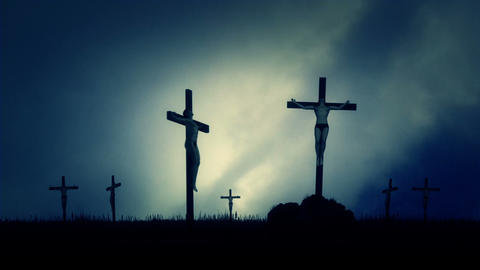 Crucified Men Nailed to a Cross Under in a Field Footage