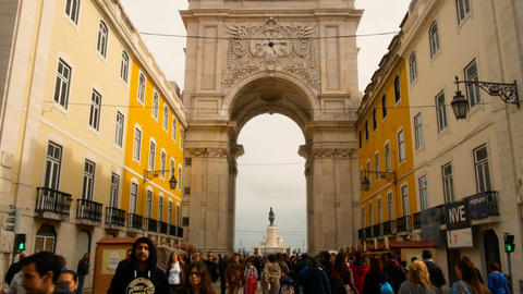 Praca do Comercio in downtown of Lisbon Footage