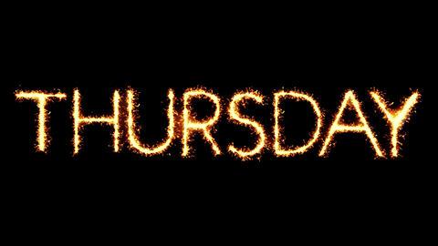 Thursday Text Sparkler Glitter Sparks Firework Loop Animation Footage