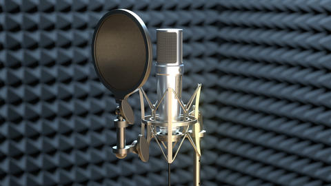 Professional microphone on a microphone stand in sound recording studio Animation