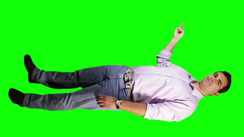 Young Man Virtual Board Gestures Full Body Greenscreen 10 Stock Video Footage