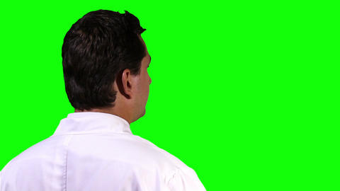 Young Scientist Back Touchscreen Closeup Greenscreen 14 Stock Video Footage