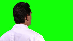 Young Scientist Back Touchscreen Closeup Greenscreen 14 Footage