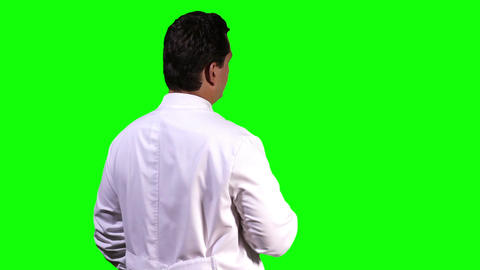 Young Scientist Back Touchscreen Greenscreen 5 Stock Video Footage