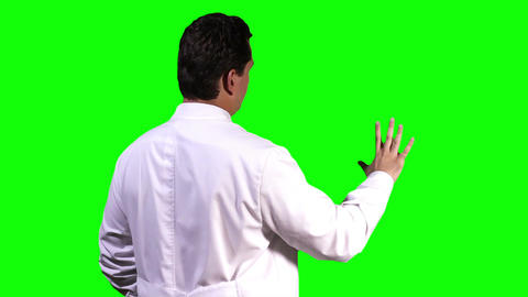 Young Scientist Back Touchscreen Greenscreen 5 Footage