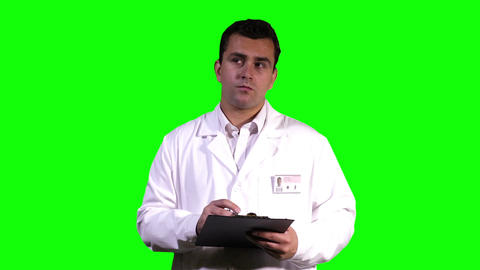 Young Scientist Making Notes Touchscreen Greenscreen 7 Stock Video Footage