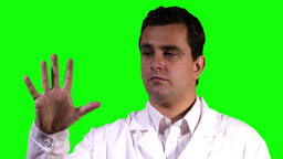 Young Scientist Touchscreen Closeup Greenscreen 11 Stock Video Footage
