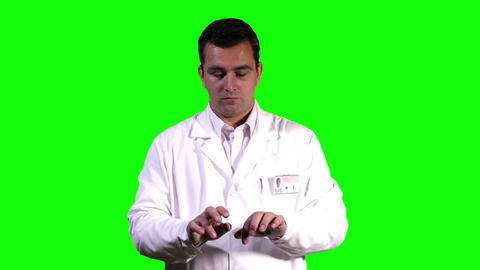 Young Scientist Virtual Typing Touchscreen Greenscreen 9 Stock Video Footage