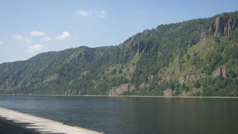 Yenisei River View With A Child Stock Video Footage