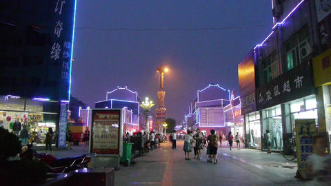 The flashing neon Commercial Street Stock Video Footage