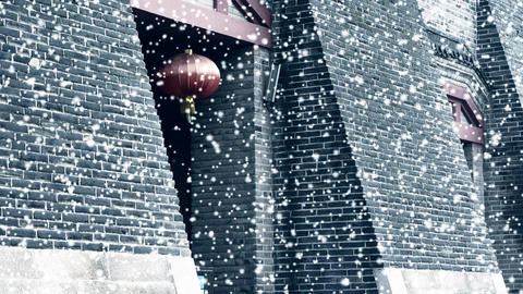 Ancient city Great Wall gate.Chinese lanterns in winter... Stock Video Footage