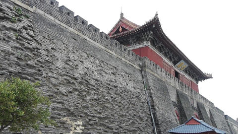 Ancient city Great Wall texture.Weathering of masonry Footage