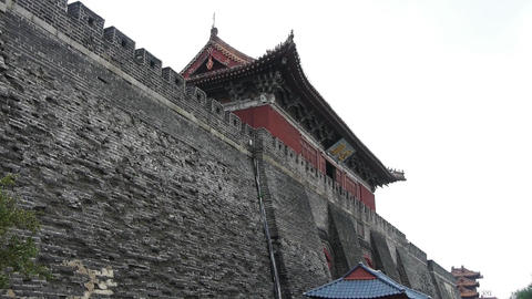 Ancient city Great Wall texture.Weathering of masonry Stock Video Footage