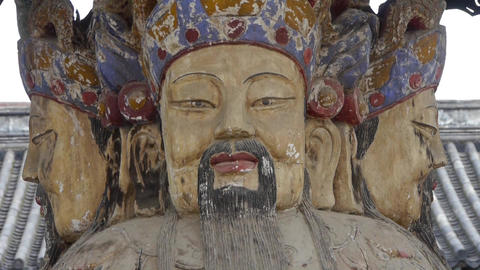 China Fortuna sculpture in temple.historical-sculpture & monuments Footage