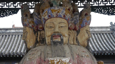 China Fortuna sculpture in temple.historical-sculpture... Stock Video Footage