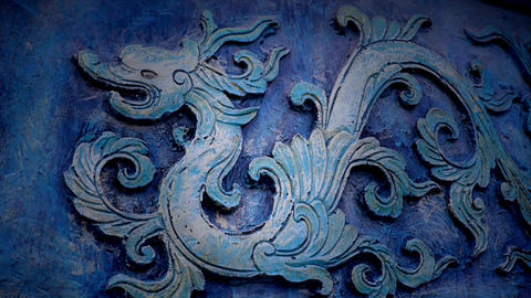 Chinese classical historical bronze dragon pattern Stock Video Footage