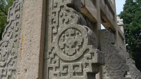 China stone arch & ancient city gate.stone carvings... Stock Video Footage