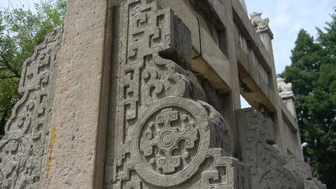China stone arch & ancient city gate.stone carvings pattern Footage