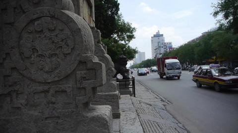 Bronze metal stone lion unicorn.sculpture statue,stone... Stock Video Footage