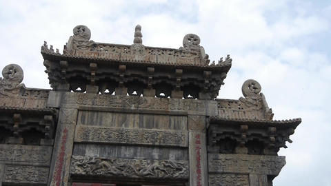 China stone arch & ancient city gate.Cloud,stone lions unicorn Live Action