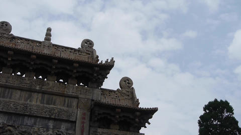 China stone arch & ancient city gate.Cloud,stone... Stock Video Footage