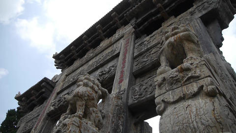 China stone arch building & ancient city... Stock Video Footage