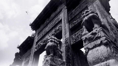 China stone arch building & ancient city gate.movement of clouds,stone lions Footage